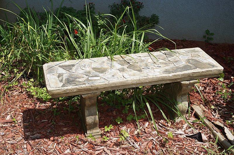 Fabulous Beautiful Concrete Outdoor Garden Bench With Slate Mosaic Inzonedesignstudio Interior Chair Design Inzonedesignstudiocom