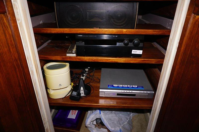 Lot 1047 Of 900: ALL ITEMS IN ELECTRONICS CLOSET EXCLUDING TV (LOT 1046)  BUT INCLUDING KLIPSCH SPEAKER, YAMAHA RECEIVER, SONY DVD PLAYER, AND MORE    GRCLST
