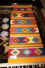 HANDCRAFTED AND SIGNED TILE COASTERS AND NATIVE AMERICAN MOTIF TABLE RUNNER - GR