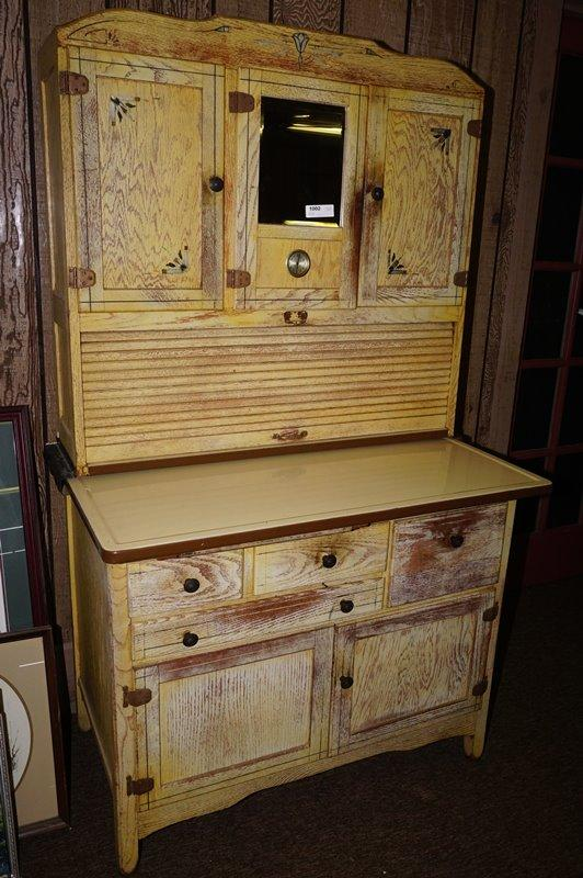 MID-CENTURY HOOSIER CABINET WITH ENAMELED SLIDE-OUT COUNTER ...