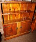 VINTAGE COMPACT DARK STAINED PINE CABINET WITH OPEN HUTCH