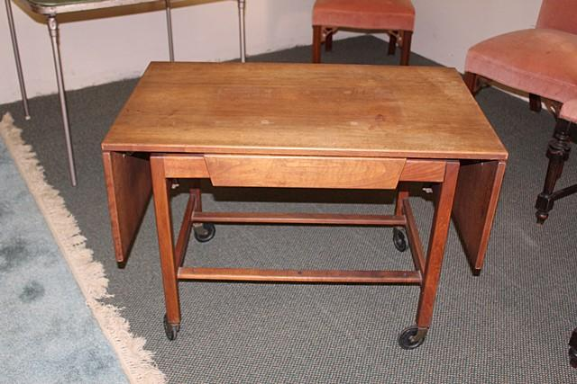 Lot 2033 Of 545 Vintage Drop Leaf Table With Drawer On Wheels