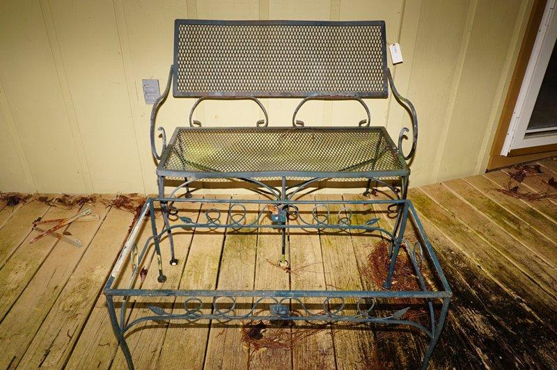 deck wrought iron table. Lot 1205 Of 443: WROUGHT IRON LOVESEAT AND COFFEE TABLE FRAME - DECK Deck Wrought Iron Table