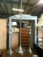 Set of three modern metal lamps, 2 table top