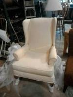 Off-white wingback chair, very good condition,