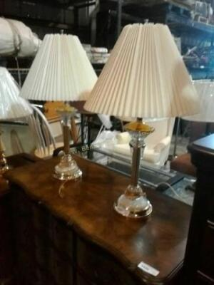 Set of living room lamps, brass look and cut