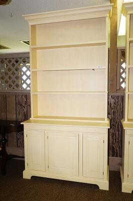 Lot 1031 Of 690 Large White Painted Wooden 2 Piece Lighted Open China Cabinet