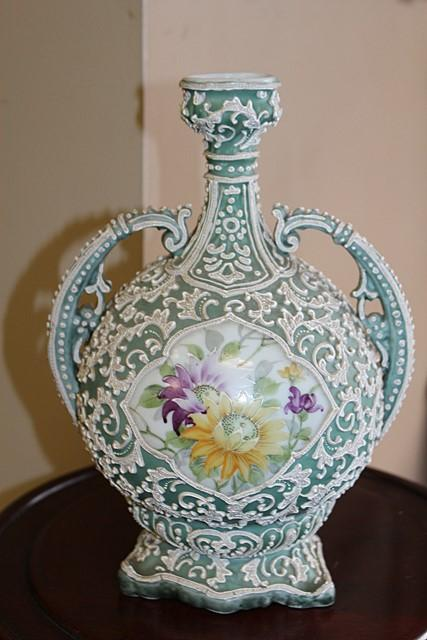 Antique Nippon Double Handle Hand Painted Moriage Vase