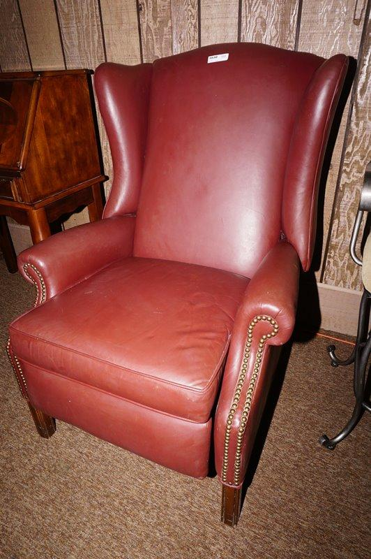 Wondrous Vintage Ethan Allen Leather Wingback Recliner With Nailhead Trim Short Links Chair Design For Home Short Linksinfo
