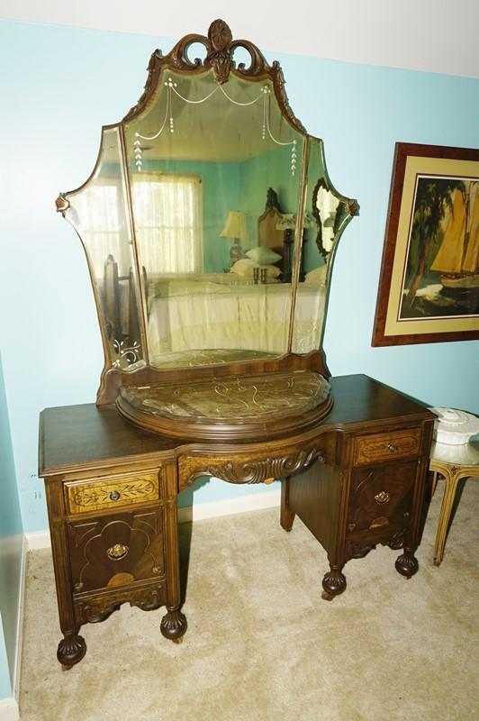 Antique Dresser With Ornate Mirror On Bun Feet With Casters And Flip
